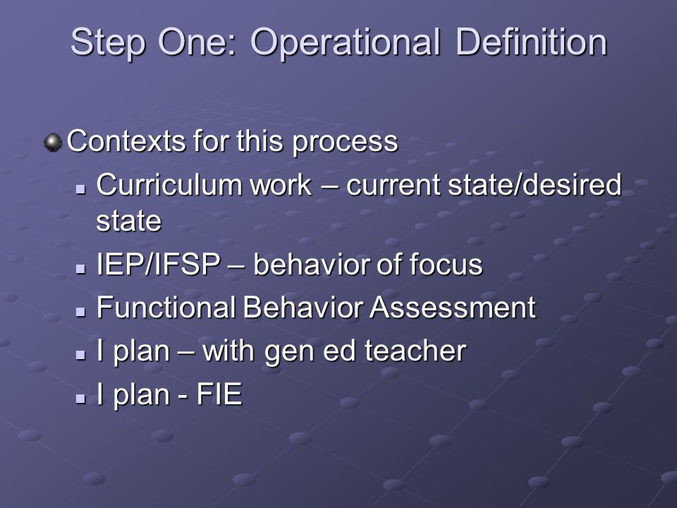 Step One: Operational Definition Contexts for this process Curriculum work – current state/desired state Curriculum work – current state/desired state IEP/IFSP – behavior of focus IEP/IFSP – behavior of focus Functional Behavior Assessment Functional Behavior Assessment I plan – with gen ed teacher I plan – with gen ed teacher I plan - FIE I plan - FIE