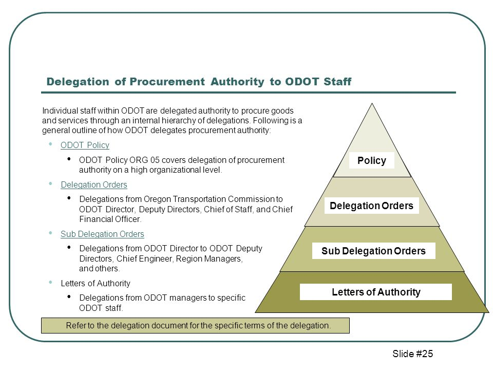 Slide #25 Delegation of Procurement Authority to ODOT Staff Individual staff within ODOT are delegated authority to procure goods and services through an internal hierarchy of delegations.
