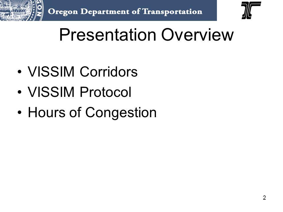 2 Presentation Overview VISSIM Corridors VISSIM Protocol Hours of Congestion