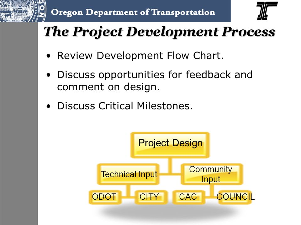 Review Development Flow Chart. Discuss opportunities for feedback and comment on design.