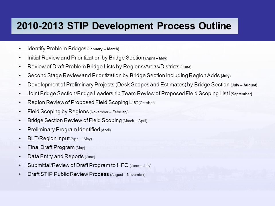 2010-2013 STIP Development Process Outline Identify Problem Bridges (January – March) Initial Review and Prioritization by Bridge Section (April – May) Review of Draft Problem Bridge Lists by Regions/Areas/Districts (June) Second Stage Review and Prioritization by Bridge Section including Region Adds (July) Development of Preliminary Projects (Desk Scopes and Estimates) by Bridge Section (July – August) Joint Bridge Section/Bridge Leadership Team Review of Proposed Field Scoping List l (September) Region Review of Proposed Field Scoping List (October) Field Scoping by Regions (November – February) Bridge Section Review of Field Scoping (March – April) Preliminary Program Identified (April) BLT/Region Input (April – May) Final Draft Program (May) Data Entry and Reports (June) Submittal/Review of Draft Program to HFO (June – July) Draft STIP Public Review Process (August – November)