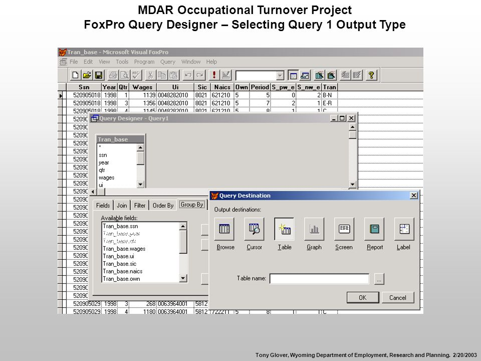 MDAR Occupational Turnover Project FoxPro Query Designer – Selecting Query 1 Output Type Tony Glover, Wyoming Department of Employment, Research and Planning.
