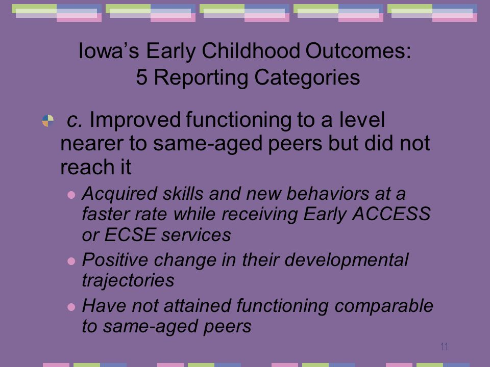 11 Iowas Early Childhood Outcomes: 5 Reporting Categories c.