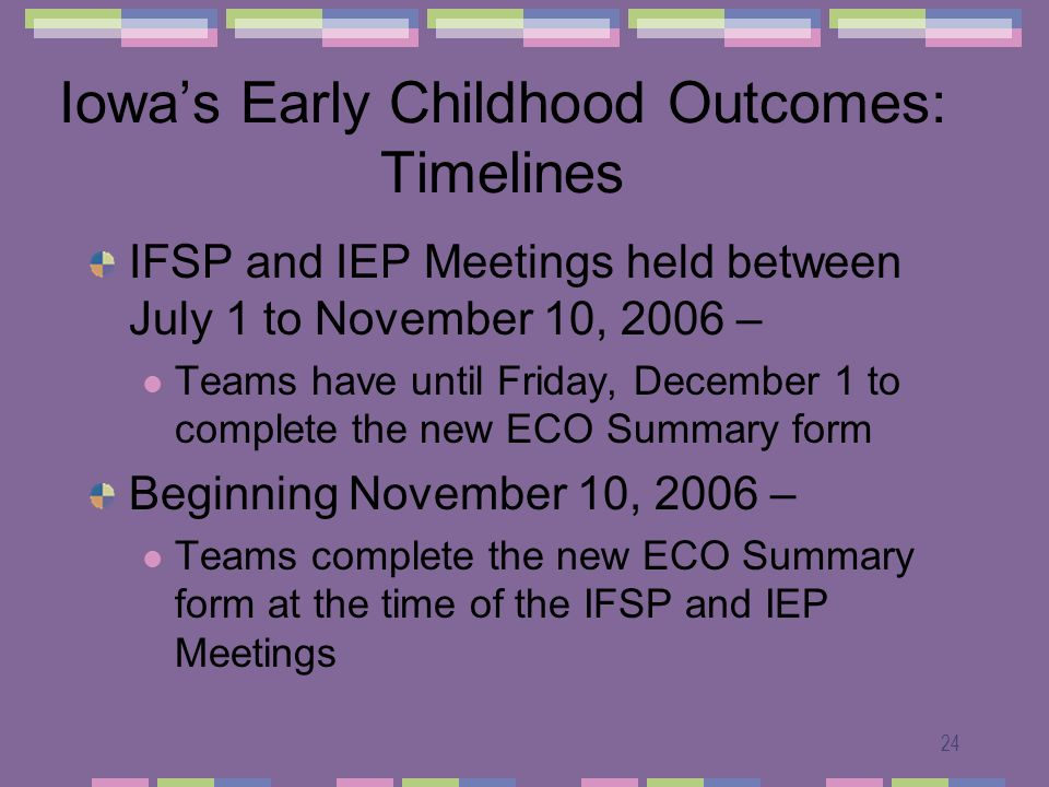 24 Iowas Early Childhood Outcomes: Timelines IFSP and IEP Meetings held between July 1 to November 10, 2006 – Teams have until Friday, December 1 to complete the new ECO Summary form Beginning November 10, 2006 – Teams complete the new ECO Summary form at the time of the IFSP and IEP Meetings