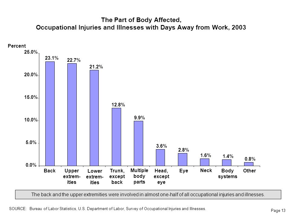 Page 13 The Part of Body Affected, Occupational Injuries and Illnesses with Days Away from Work, 2003 BackUpper extrem- ities Lower extrem- ities Trunk, except back Multiple body parts Head, except eye Eye Neck Body systems Other Percent The back and the upper extremities were involved in almost one-half of all occupational injuries and illnesses.