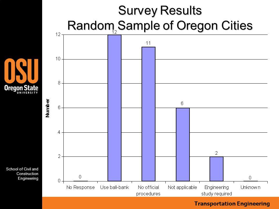 Transportation Engineering School of Civil and Construction Engineering Survey Results Random Sample of Oregon Cities