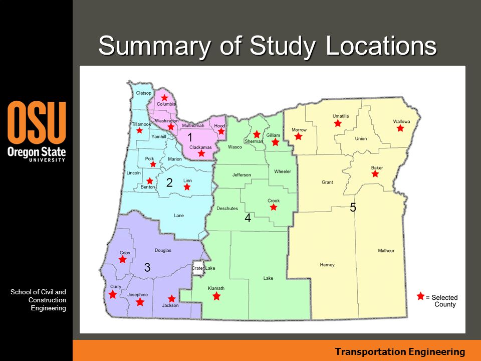 Transportation Engineering School of Civil and Construction Engineering Summary of Study Locations Insert map graphic here