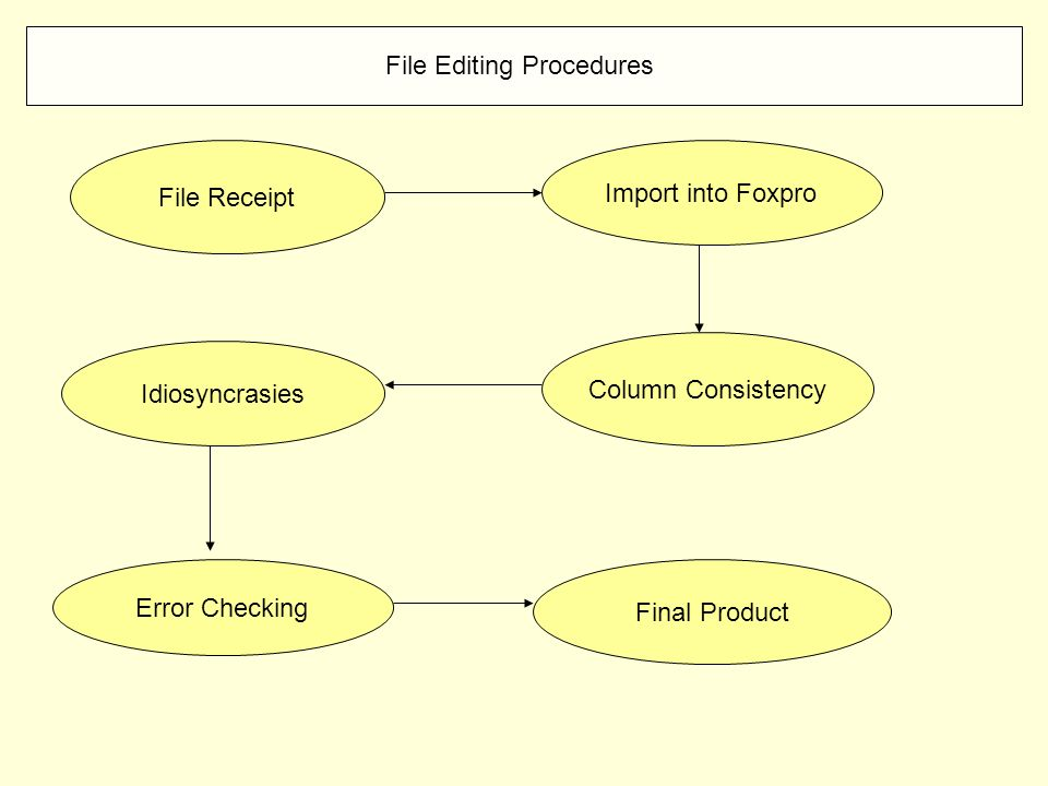 File Editing Procedures File Receipt Import into Foxpro Column Consistency Idiosyncrasies Error Checking Final Product