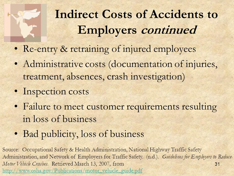 31 Re-entry & retraining of injured employees Administrative costs (documentation of injuries, treatment, absences, crash investigation) Inspection costs Failure to meet customer requirements resulting in loss of business Bad publicity, loss of business Indirect Costs of Accidents to Employers continued Source: Occupational Safety & Health Administration, National Highway Traffic Safety Administration, and Network of Employers for Traffic Safety.
