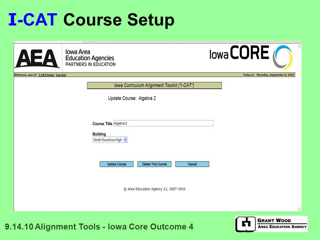 I -CAT Select Participants 9.14.10 Alignment Tools - Iowa Core Outcome 4