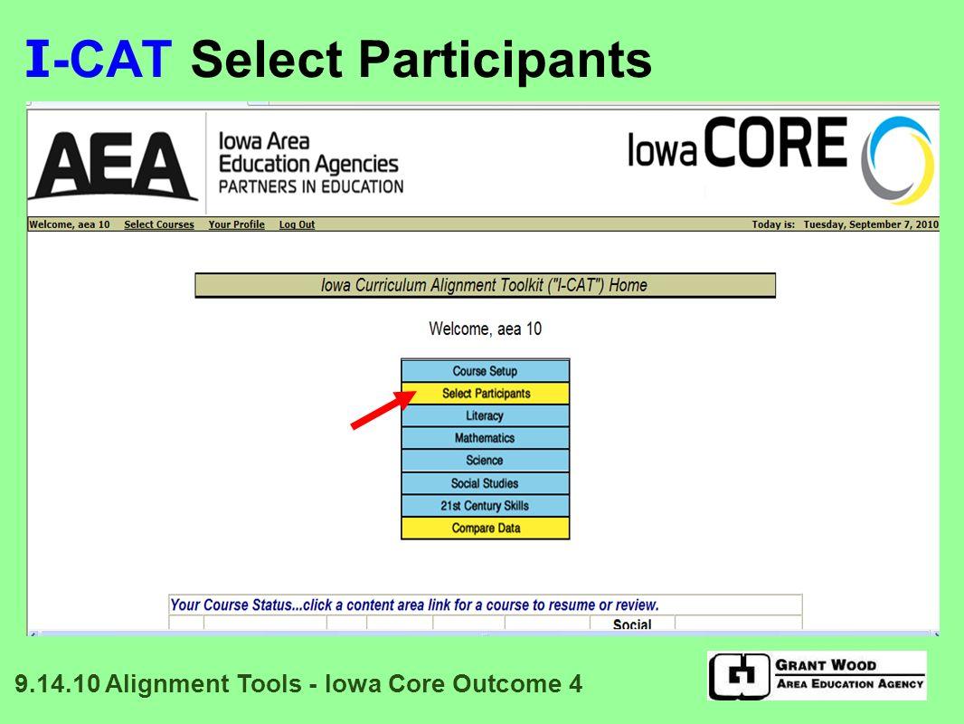 I -CAT: Reflection Data Entry 9.14.10 Alignment Tools - Iowa Core Outcome 4