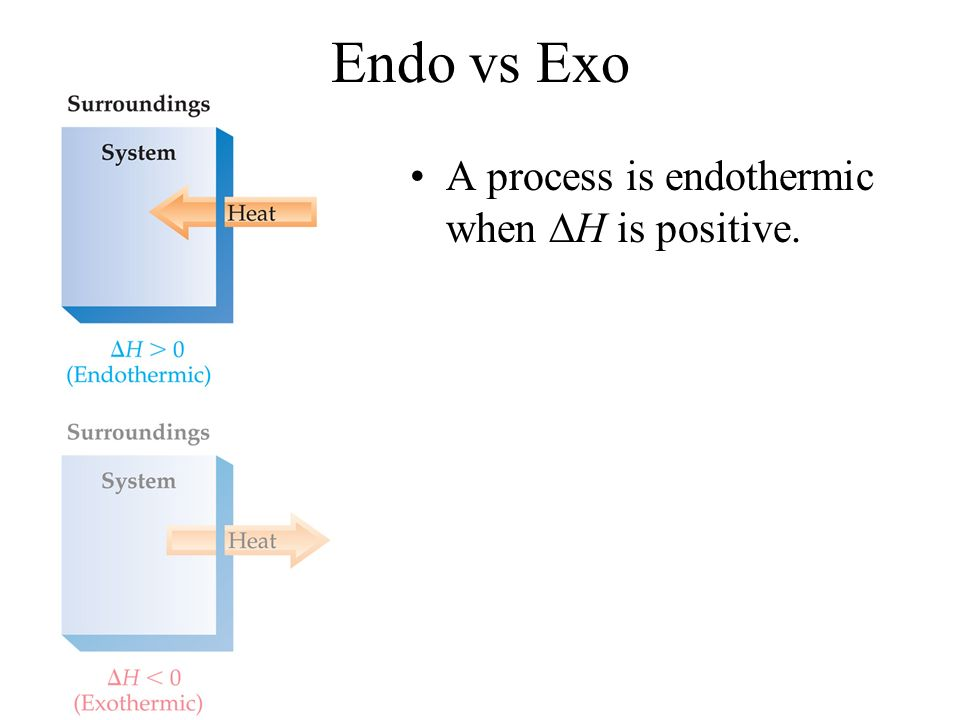 Endo vs Exo A process is endothermic when H is positive.