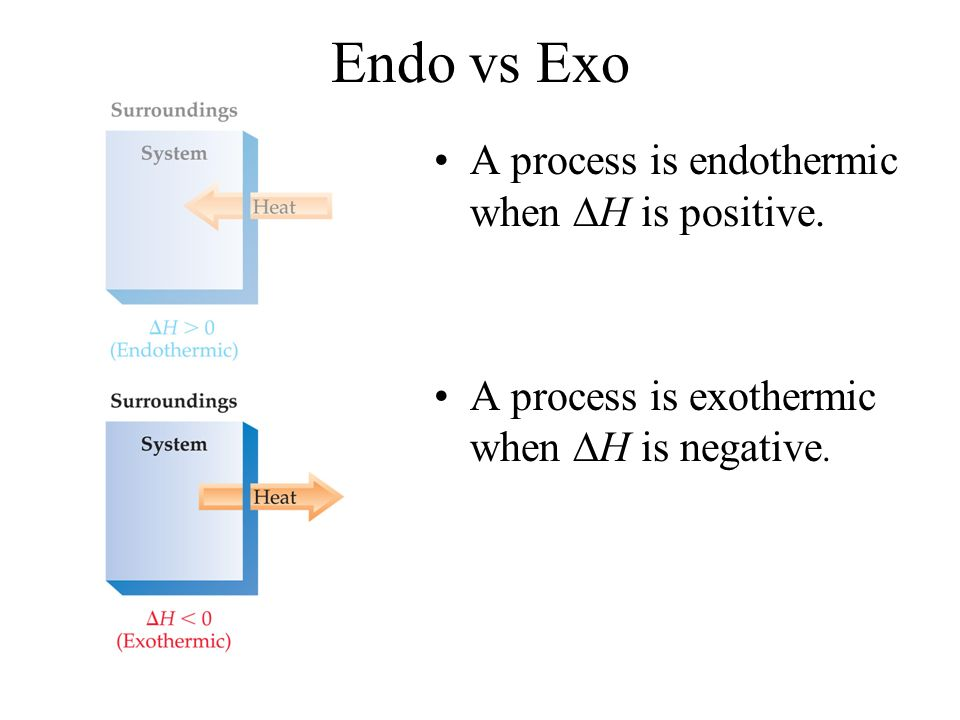 Endo vs Exo A process is endothermic when H is positive. A process is exothermic when H is negative.