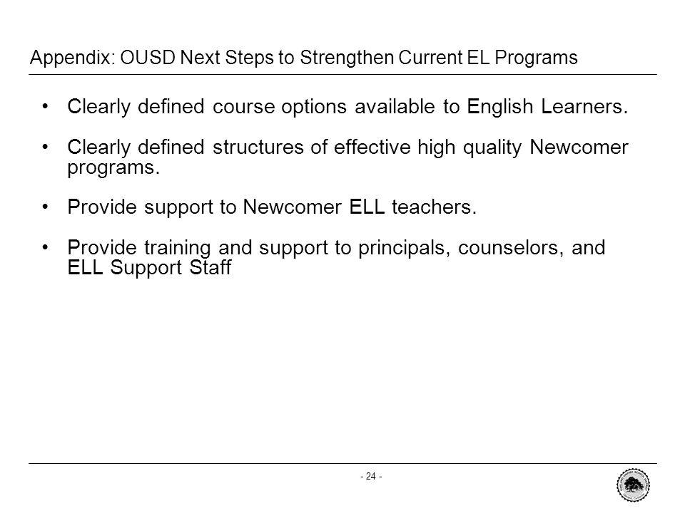 - 23 - SchoolELD ProgramsEL Support in Core ProgramsTeacher Capacity Oakland High Basics I, 2 & 3 Level A, B & C ELD 5 -SEI Intro.