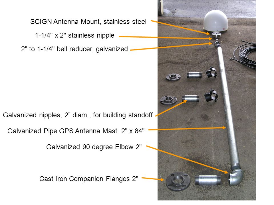 SCIGN Antenna Mount, stainless steel Galvanized Pipe GPS Antenna Mast 2 x 84 2 to 1-1/4 bell reducer, galvanized 1-1/4 x 2 stainless nipple