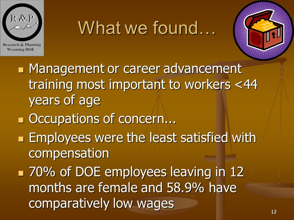 12 What we found… Management or career advancement training most important to workers <44 years of age Management or career advancement training most important to workers <44 years of age Occupations of concern...