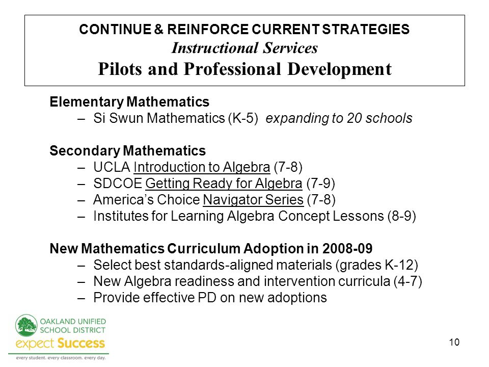 10 CONTINUE & REINFORCE CURRENT STRATEGIES Instructional Services Pilots and Professional Development Elementary Mathematics –Si Swun Mathematics (K-5) expanding to 20 schools Secondary Mathematics –UCLA Introduction to Algebra (7-8) –SDCOE Getting Ready for Algebra (7-9) –Americas Choice Navigator Series (7-8) –Institutes for Learning Algebra Concept Lessons (8-9) New Mathematics Curriculum Adoption in 2008-09 –Select best standards-aligned materials (grades K-12) –New Algebra readiness and intervention curricula (4-7) –Provide effective PD on new adoptions