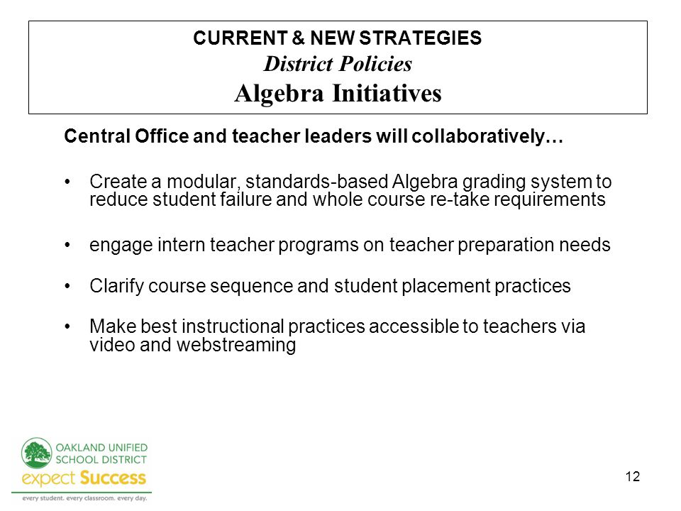 12 CURRENT & NEW STRATEGIES District Policies Algebra Initiatives Central Office and teacher leaders will collaboratively… Create a modular, standards