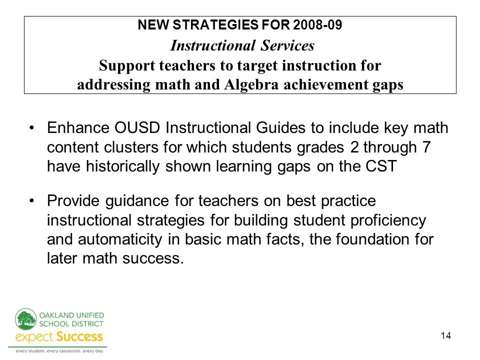 14 NEW STRATEGIES FOR 2008-09 Instructional Services Support teachers to target instruction for addressing math and Algebra achievement gaps Enhance OUSD Instructional Guides to include key math content clusters for which students grades 2 through 7 have historically shown learning gaps on the CST Provide guidance for teachers on best practice instructional strategies for building student proficiency and automaticity in basic math facts, the foundation for later math success.