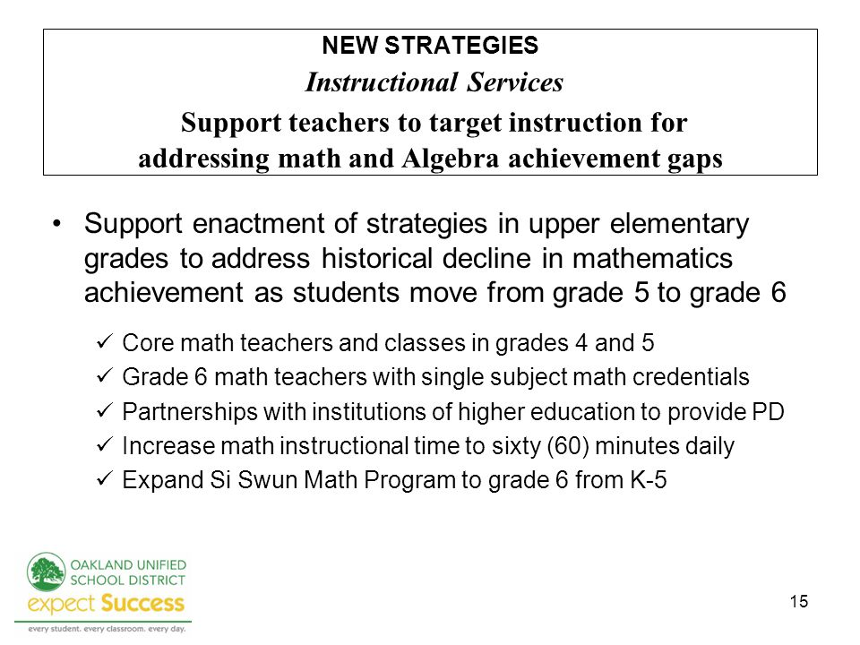 15 Support enactment of strategies in upper elementary grades to address historical decline in mathematics achievement as students move from grade 5 t