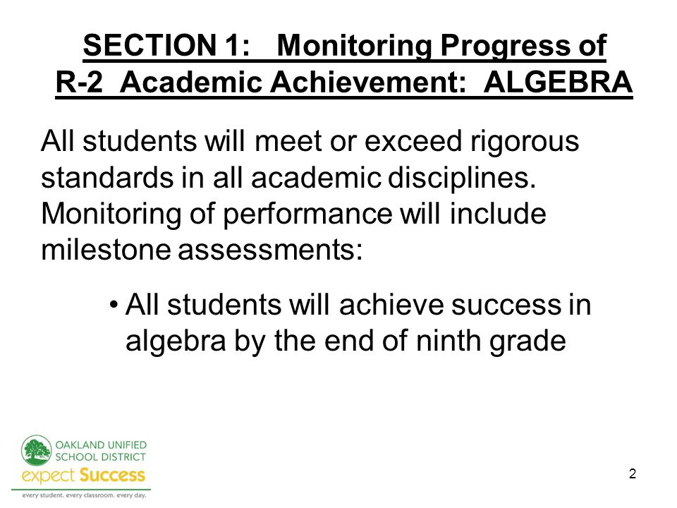 2 SECTION 1: Monitoring Progress of R-2 Academic Achievement: ALGEBRA All students will meet or exceed rigorous standards in all academic disciplines.