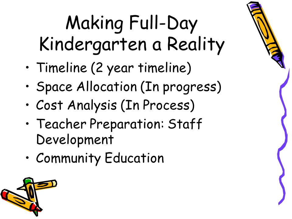 Making Full-Day Kindergarten a Reality Timeline (2 year timeline) Space Allocation (In progress) Cost Analysis (In Process) Teacher Preparation: Staff