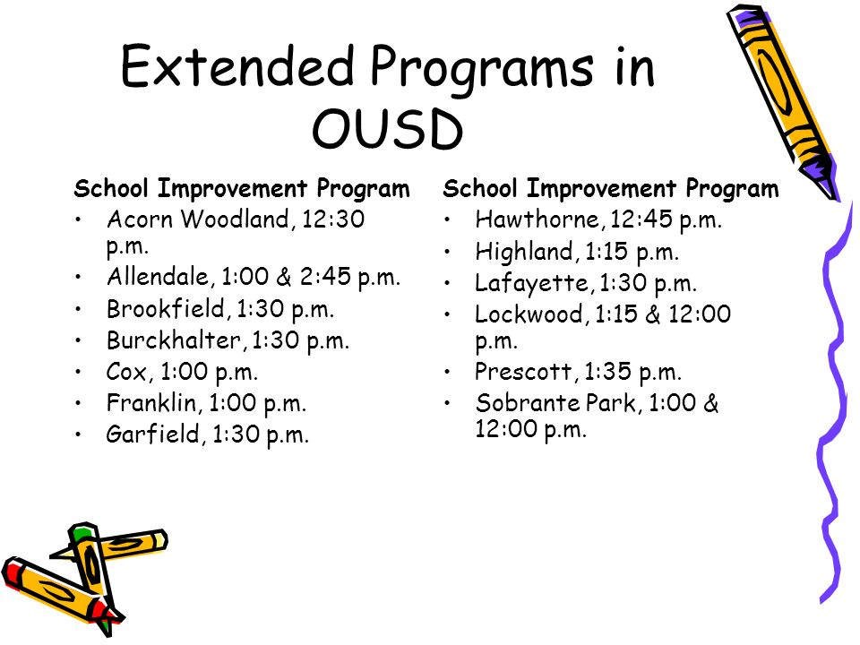 Extended Programs in OUSD Non Improvement Schools Encompass, 2:45 p.m.