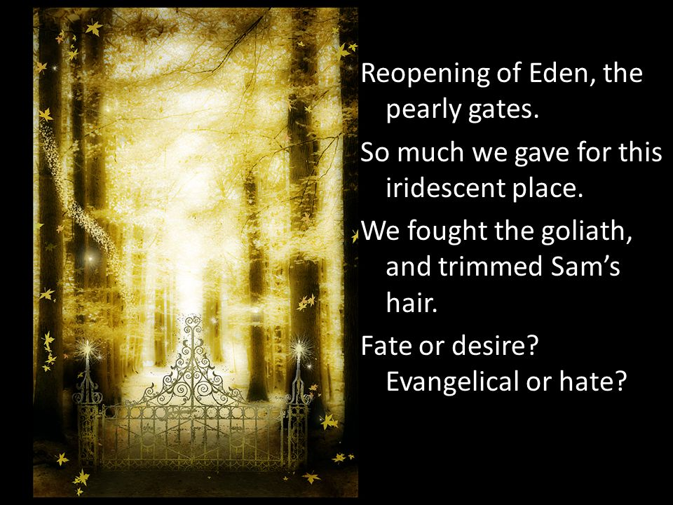 Reopening of Eden, the pearly gates. So much we gave for this iridescent place. We fought the goliath, and trimmed Sams hair. Fate or desire? Evangeli