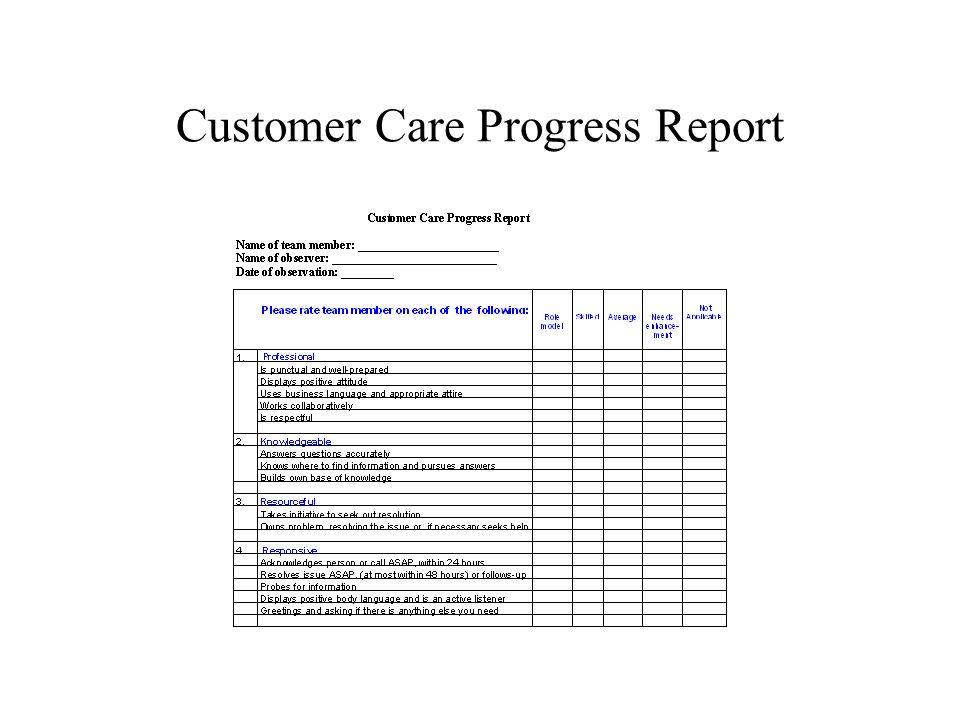 Customer Care Progress Report