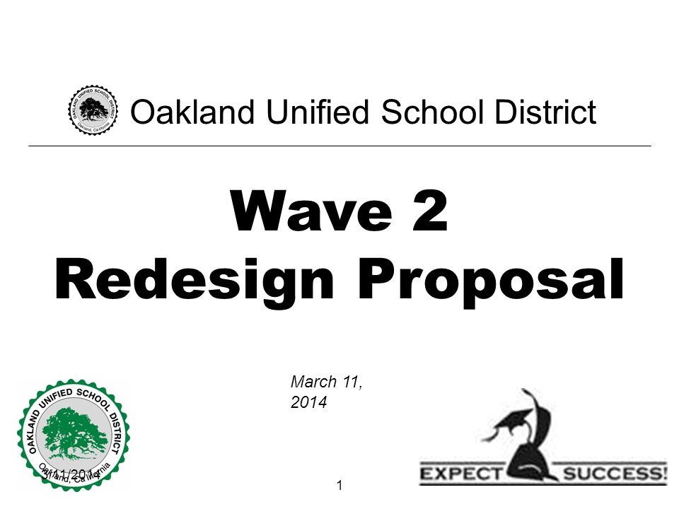 3/11/ Wave 2 Redesign Proposal Oakland Unified School District March 11, 2014