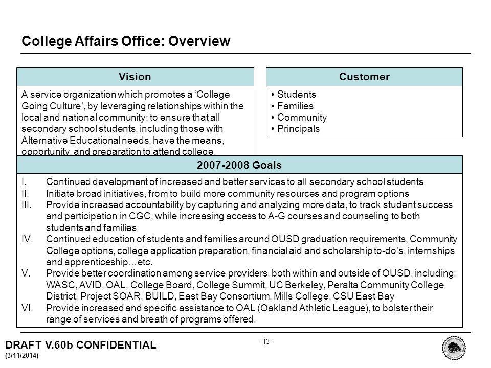 DRAFT V.60b CONFIDENTIAL (3/11/2014) College Affairs Office: Overview Vision A service organization which promotes a College Going Culture, by leveraging relationships within the local and national community; to ensure that all secondary school students, including those with Alternative Educational needs, have the means, opportunity, and preparation to attend college.