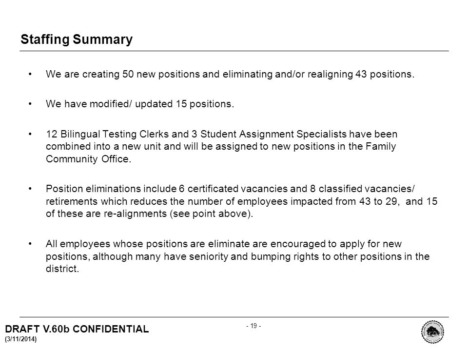 DRAFT V.60b CONFIDENTIAL (3/11/2014) Staffing Summary We are creating 50 new positions and eliminating and/or realigning 43 positions.