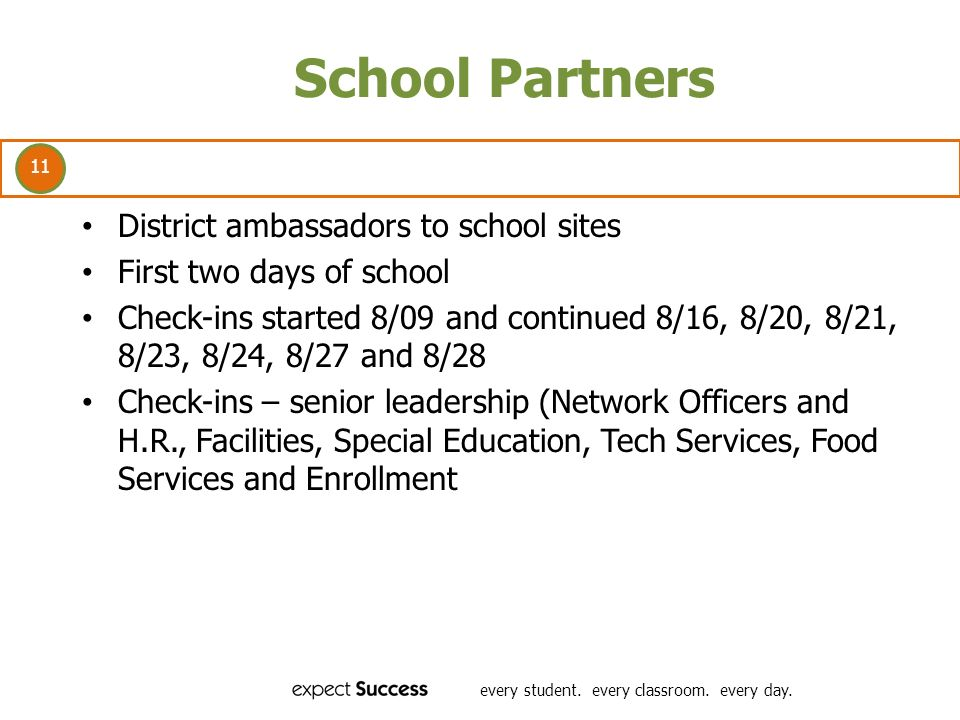 11 every student. every classroom. every day. School Partners District ambassadors to school sites First two days of school Check-ins started 8/09 and