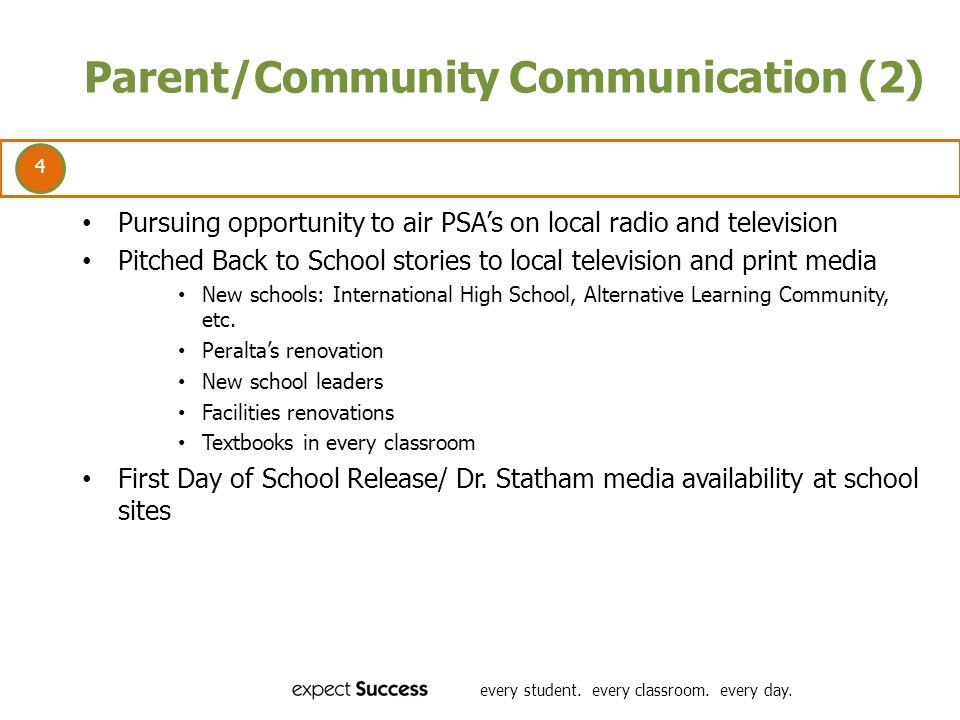 4 every student. every classroom. every day. Parent/Community Communication (2) Pursuing opportunity to air PSAs on local radio and television Pitched