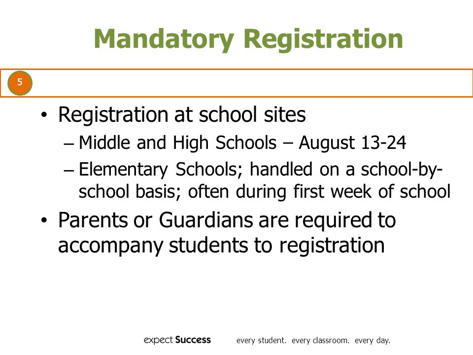 5 every student. every classroom. every day. Mandatory Registration Registration at school sites – Middle and High Schools – August 13-24 – Elementary