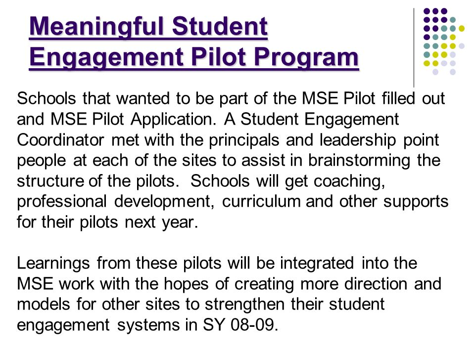 Meaningful Student Engagement Pilot Program Schools that wanted to be part of the MSE Pilot filled out and MSE Pilot Application.
