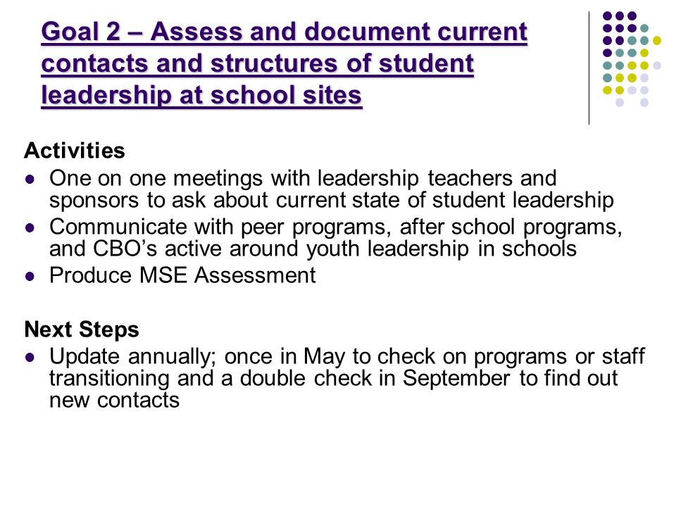 Goal 2 – Assess and document current contacts and structures of student leadership at school sites Activities One on one meetings with leadership teachers and sponsors to ask about current state of student leadership Communicate with peer programs, after school programs, and CBOs active around youth leadership in schools Produce MSE Assessment Next Steps Update annually; once in May to check on programs or staff transitioning and a double check in September to find out new contacts