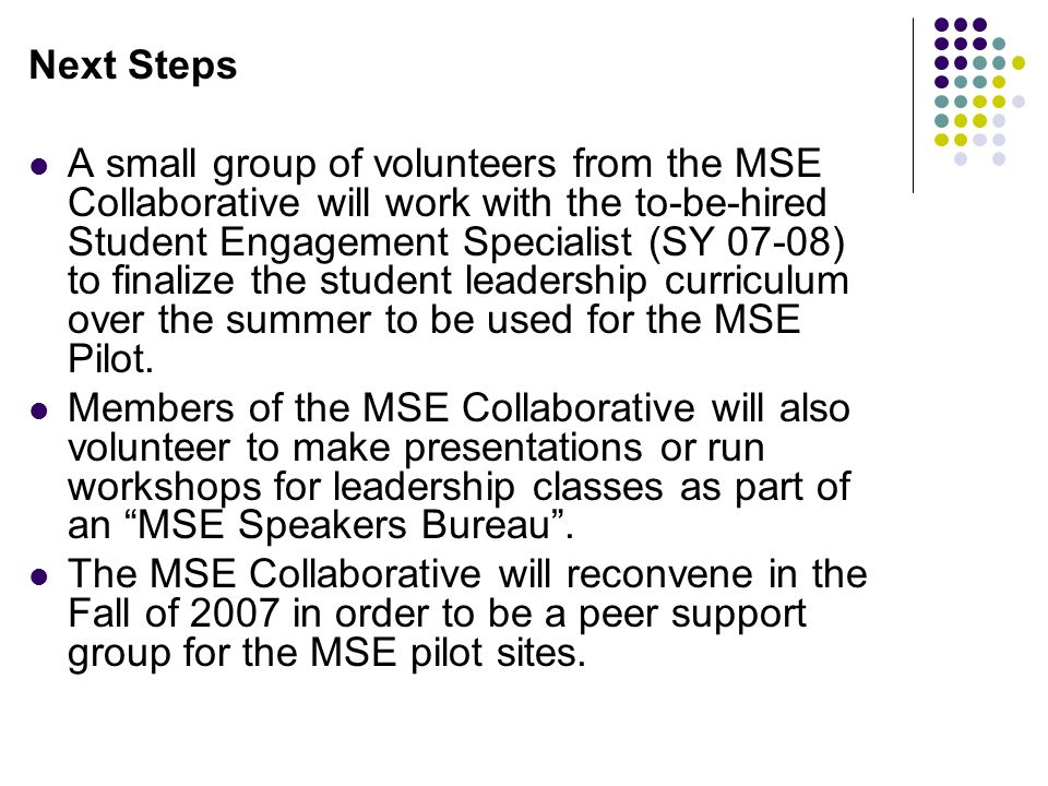 Next Steps A small group of volunteers from the MSE Collaborative will work with the to-be-hired Student Engagement Specialist (SY 07-08) to finalize the student leadership curriculum over the summer to be used for the MSE Pilot.