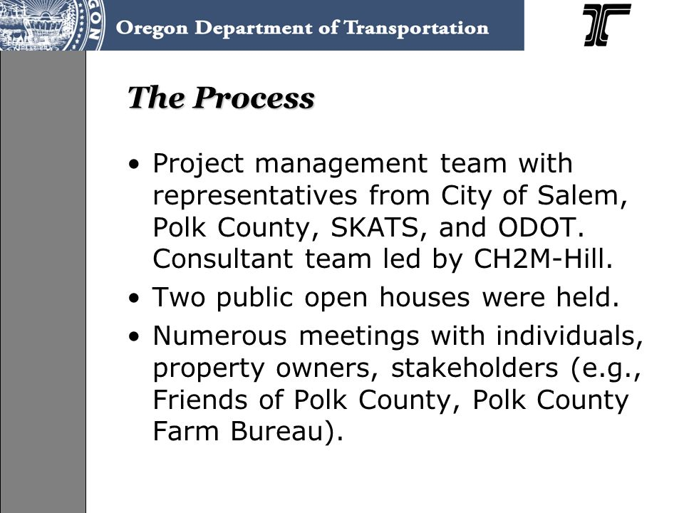 Facility Plan Goals Develop feasible alternatives that address operational, safety, and geometric problems, and that meet applicable provisions of the Highway Design Manual (HDM) and the Oregon Highway Plan (OHP) Incorporate findings and recommendations into local agency plans Red flag environmental analysis