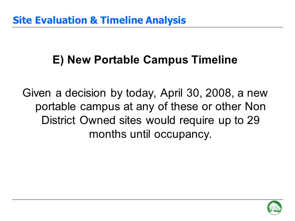 Site Evaluation & Timeline Analysis D) Typical Schedule for New Portable Campus