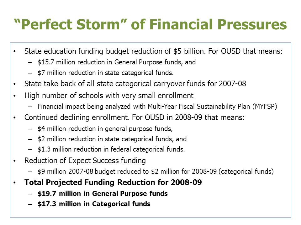 Perfect Storm of Financial Pressures State education funding budget reduction of $5 billion.