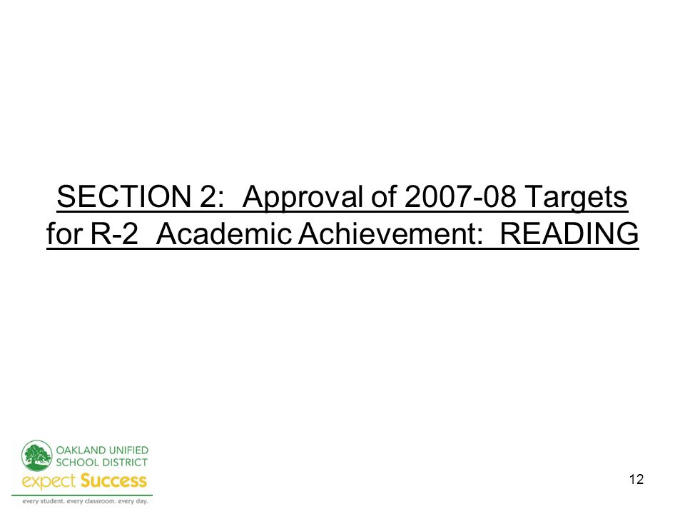 12 SECTION 2: Approval of 2007-08 Targets for R-2 Academic Achievement: READING