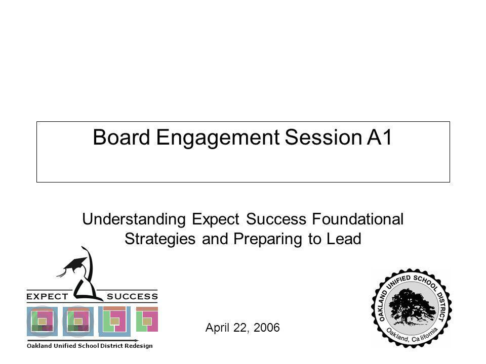 Page 1 April 22, 2006 Board Engagement Session A1 Understanding Expect Success Foundational Strategies and Preparing to Lead Oakland Unified School Di