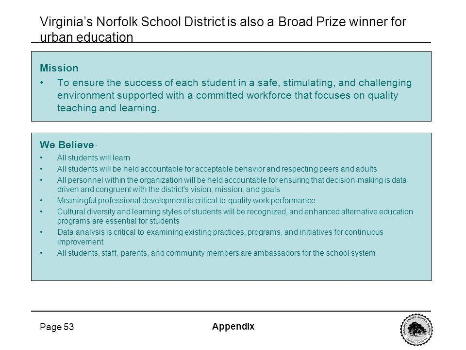 Page 53 Virginias Norfolk School District is also a Broad Prize winner for urban education Mission To ensure the success of each student in a safe, st