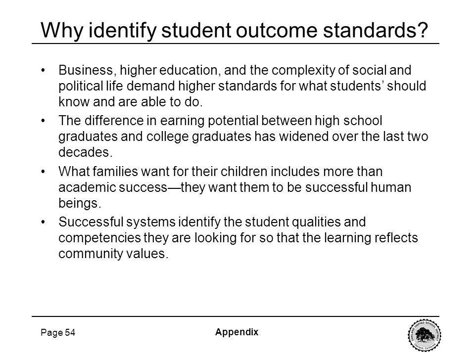 Page 54 Why identify student outcome standards? Business, higher education, and the complexity of social and political life demand higher standards fo