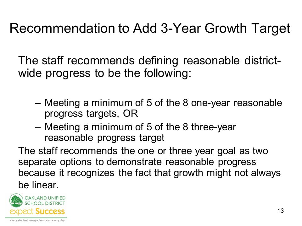 13 Recommendation to Add 3-Year Growth Target The staff recommends defining reasonable district- wide progress to be the following: –Meeting a minimum of 5 of the 8 one-year reasonable progress targets, OR –Meeting a minimum of 5 of the 8 three-year reasonable progress target The staff recommends the one or three year goal as two separate options to demonstrate reasonable progress because it recognizes the fact that growth might not always be linear.