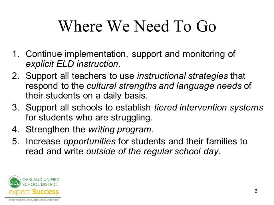 6 Where We Need To Go 1.Continue implementation, support and monitoring of explicit ELD instruction. 2.Support all teachers to use instructional strat