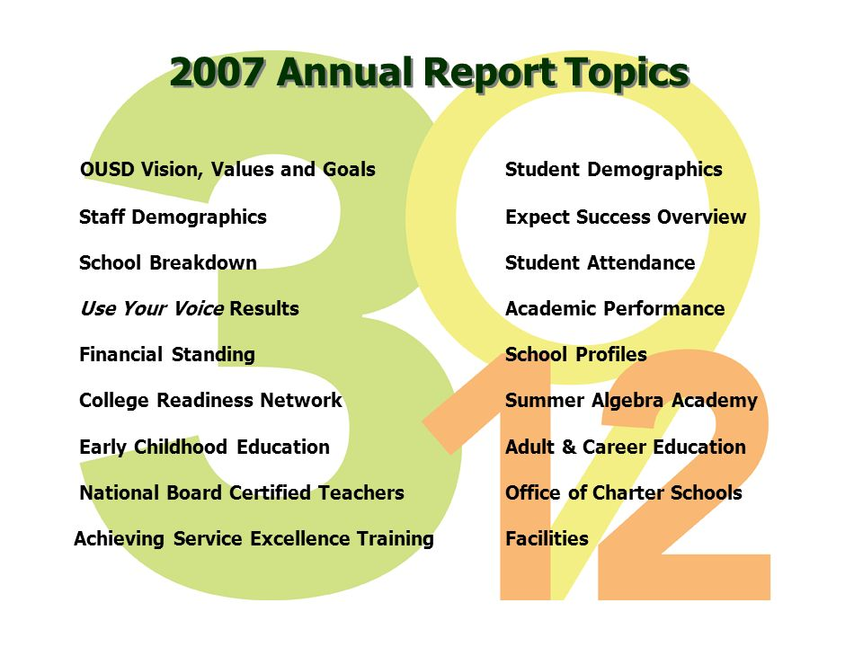 2007 Annual Report Topics OUSD Vision, Values and GoalsStudent Demographics Staff DemographicsExpect Success Overview School BreakdownStudent Attendan