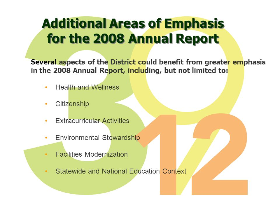 Additional Areas of Emphasis for the 2008 Annual Report Several aspects of the District could benefit from greater emphasis in the 2008 Annual Report, including, but not limited to: Health and Wellness Citizenship Extracurricular Activities Environmental Stewardship Facilities Modernization Statewide and National Education Context