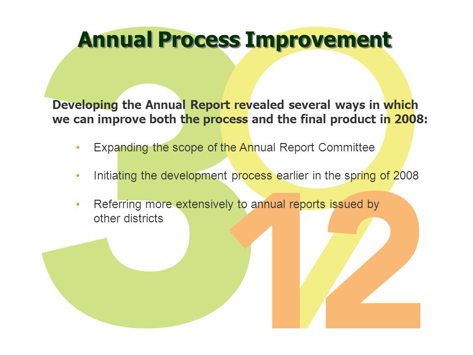 Annual Process Improvement Developing the Annual Report revealed several ways in which we can improve both the process and the final product in 2008: